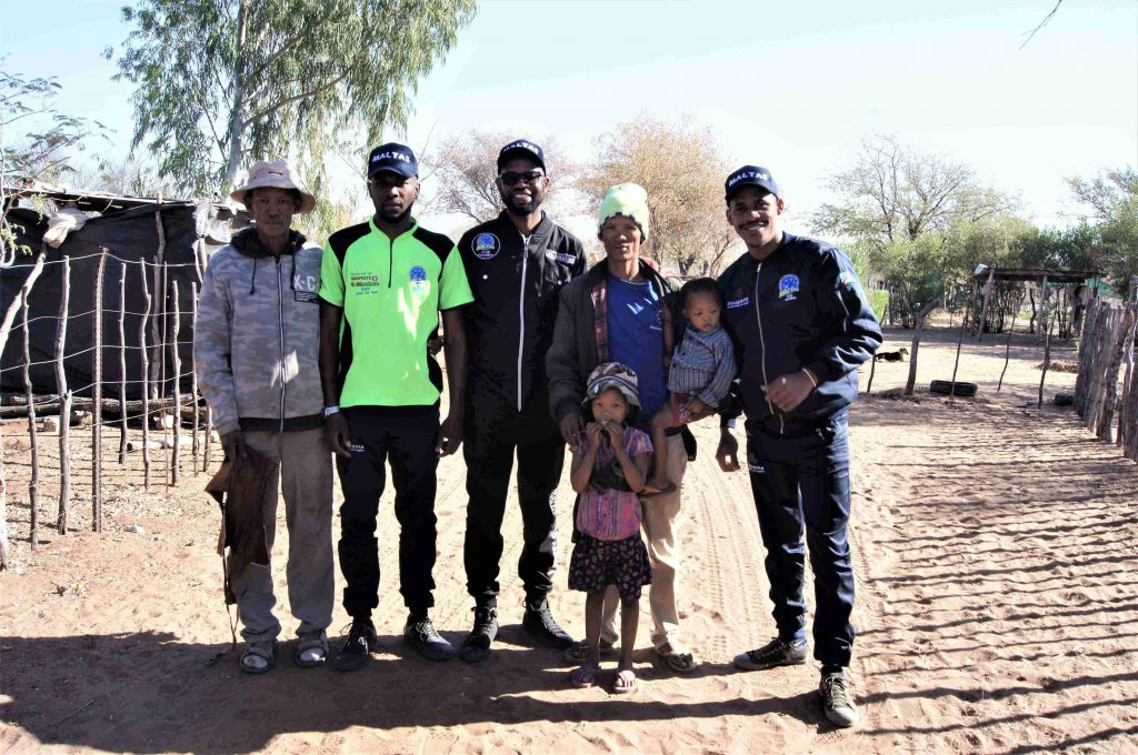Three members of MALTAS Club and people from Tsumkwe